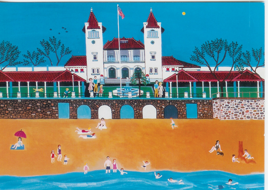 Rye_Painting of Rye Town Park beachgoers by Reggie Kle